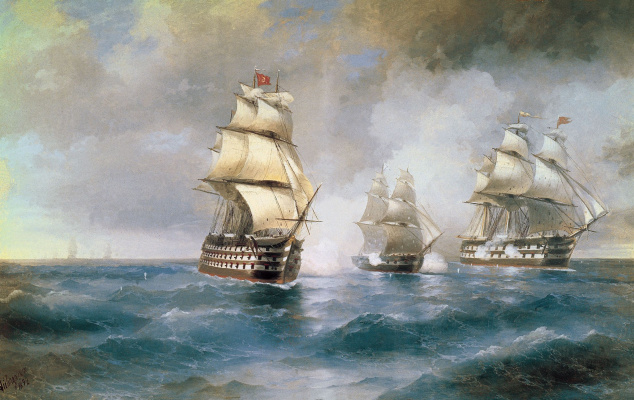 "Ivan Aivazovsky. Brig ""mercury"" attacked by two Turkish ships"