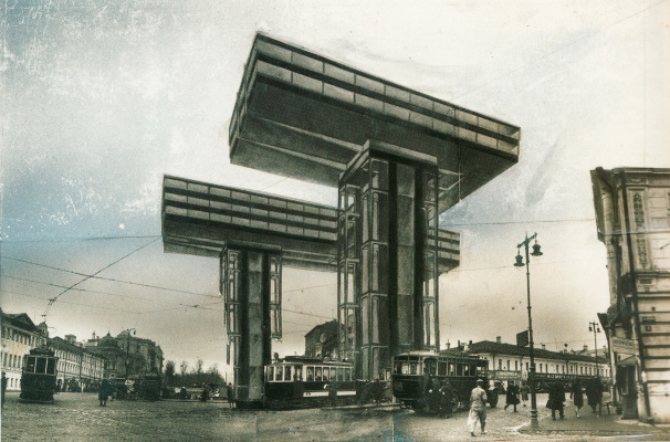 El Lissitzky. The photo montage. Horizontal skyscrapers in Moscow