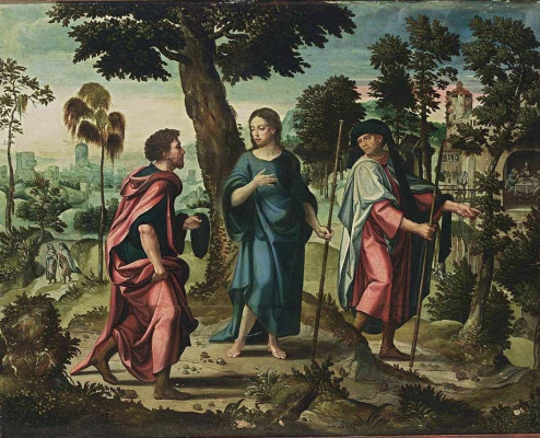 Peter Cook Van Alst. Christ with the disciples on the road to Emmaus