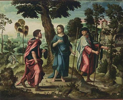 Питер Кук ван Альст. Христос с учениками на пути в Эммаус