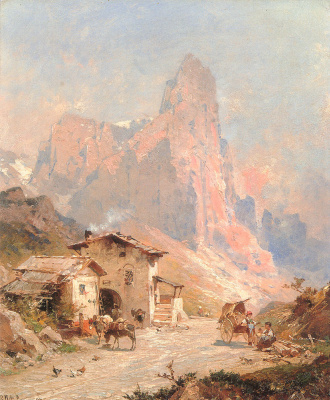 Franz Richard Unterberger. Figures in a village in the Dolomites