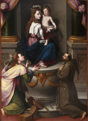 Alessandro Allori. Madonna and Child with Saints Catherine and Francis of Assisi.