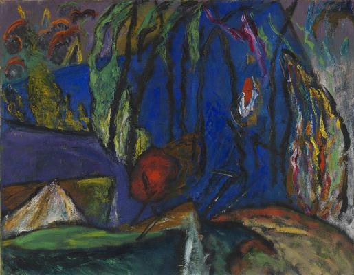 Gabriele Münter. Sketch on blue background