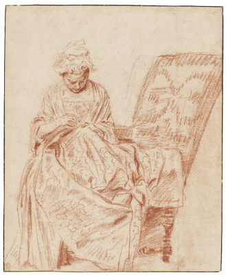 Antoine Watteau. Woman embroiders in the chair