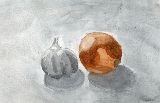 Polina. Onion and garlic. Etude