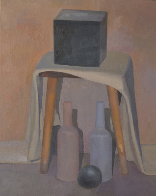 Pavel Viktorovich Petrov. Still life with stool, bottles and black cube