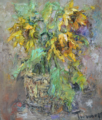 Tuman Art Gallery Tumana Zhumabayeva. Bouquet of sunflowers