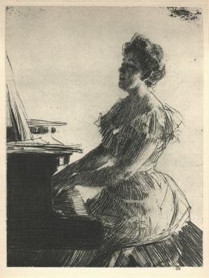 Андерс Цорн. Женщина играет на пианино