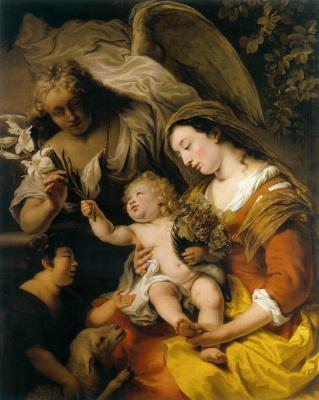 Фердинанд Балтасарс Боль. Богоматерь с младенцем, Иоанном Крестителем и Гавриилом