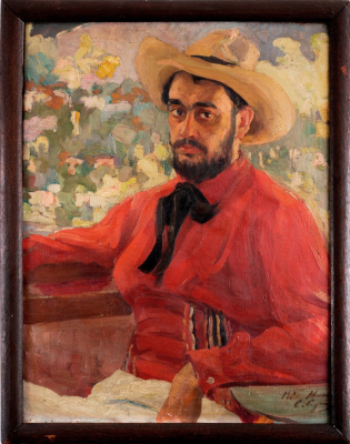 Saveliy Abramovich Sorin. Self portrait with a hat. 1906