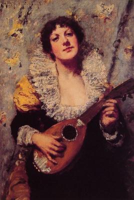 William Merritt Chase. Playing the mandolin