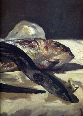 Edouard Manet. Eel and red mullet, fragment