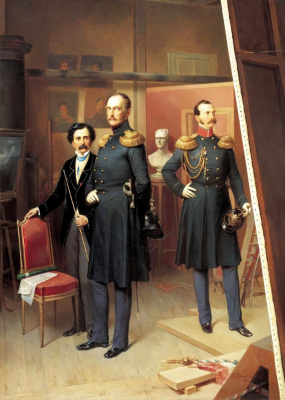 Bogdan Pavlovich Willewalde. Nicholas I and crown Prince Alexander Nikolayevich in the artist's Studio in 1854