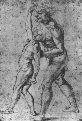"Raphael Santi. Study for the painting ""Transfiguration"". Study Nude artist's model for the figure of the father of the demonized boy"