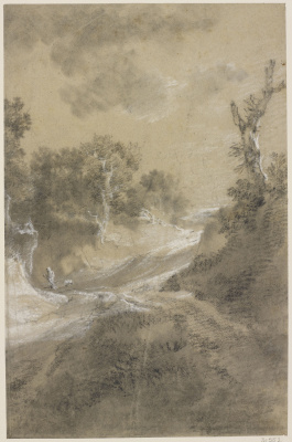 Thomas Gainsborough. Picture of a winding road with trees on the side