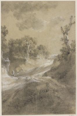 Томас Гейнсборо. Рисунок извилистой дороги с деревьями на обочине