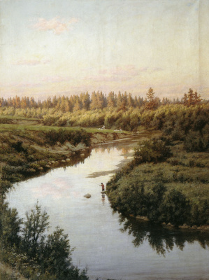 Alexander Pavlovich Bryullov. Landscape with a river. 1900