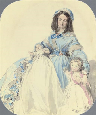 Franz Xaver Winterhalter. Princess Clementine, with his sons Philip and August. Sketch