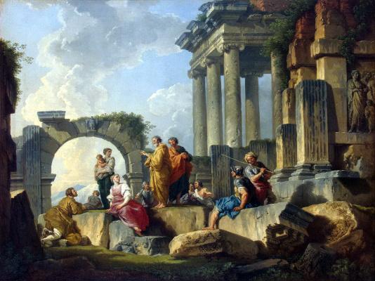 Джованни Паоло Паннини. Развалины со сценой проповеди апостола Павла