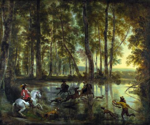 Николас Питерс Берхем. Охота в лесу