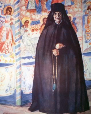 """Boris Mikhailovich Kustodiev. Nun. From the series """"Russia. Russian types"""""""