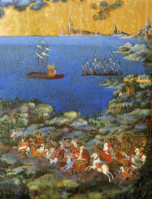 "Icon Painting. Wonderful phenomenon of sv. Princes Boris and Gleb and the Battle of the Neva. Fragment of the icon ""Alexander Nevsky"" (Nevyansk)"