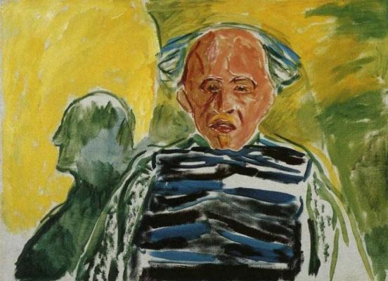 Edvard Munch. Self-portrait in a striped sweater