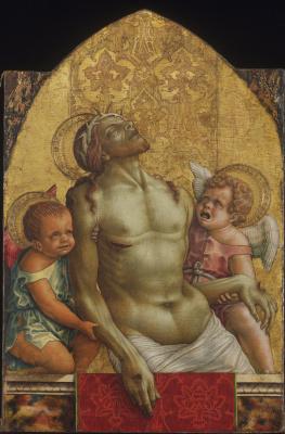 Карло Кривелли. Мертвый Христос, поддерживаемый двумя ангелами