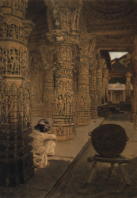 Vasily Vasilyevich Vereshchagin. Colonnade in the Jain temple at mount Abu in the evening. Etude