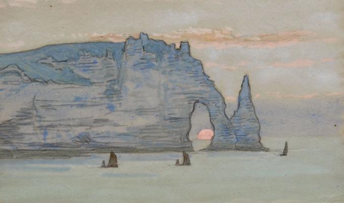 Jean Francis Ouurten. Needle of Étretat at Sunset