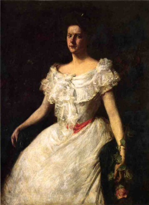 William Merritt Chase. Portrait of a lady with a rose