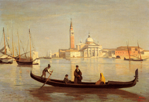 Camille Corot. Venetian gondola on the Grand Canal