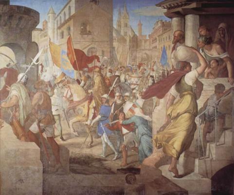 Julius Schnorr von Karolsfeld. The army of the Franks under the leadership of Charlemagne in Paris