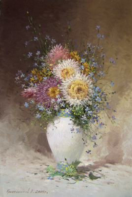 Vasily Ivanovich Gribennikov. Bouquet with asters
