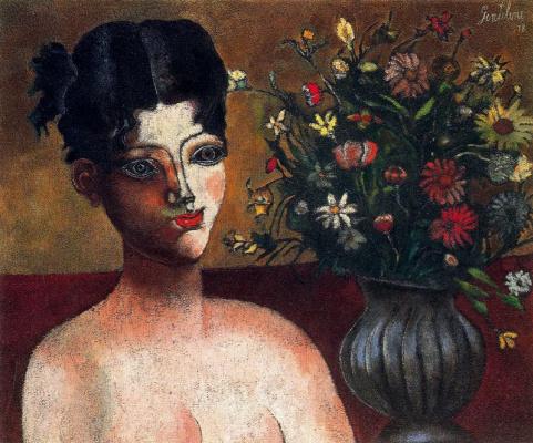 Франко Джентилини. Девушка и цветы в вазе