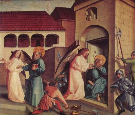 Конрад  (Витц) Виц. Освобождение апостола Петра из темницы, Фрагмент алтаря св. Петра Кафедрального собора Женевы, правая створка внешняя сторона
