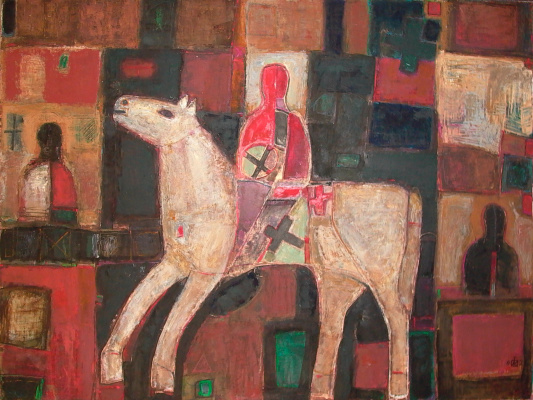 "Igor Vasilyevich Kislitsyn. ""Rider Threshold"", 2002, oil on canvas, 150 x 200 from the cycle FORMULA RIDER"