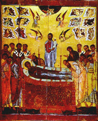 Icon Painting. Icon Of The Dormition Of The Virgin