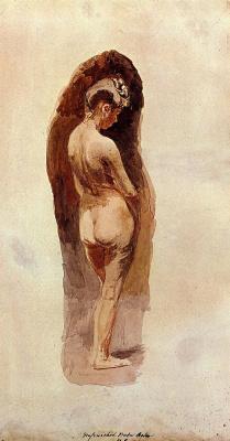 Thomas Eakins. Nude girl with lowered head