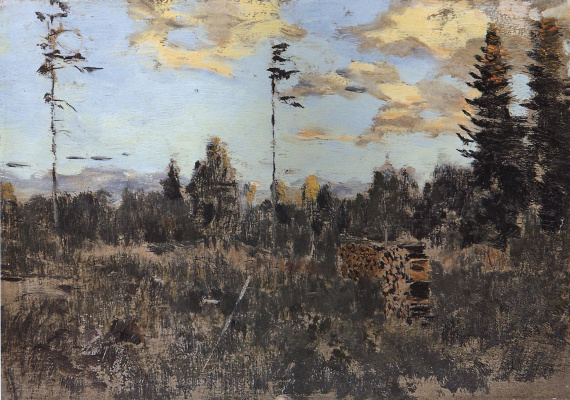 """Isaac Levitan. Cut down timber. Stack. A sketch for the painting """"the Storm. Rain"""""""