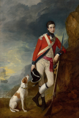 Thomas Gainsborough. Portrait of an officer of the 4th Infantry regiment with the dog