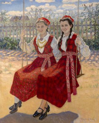 Николай Петрович Богданов-Бельский. Две девушки на качелях