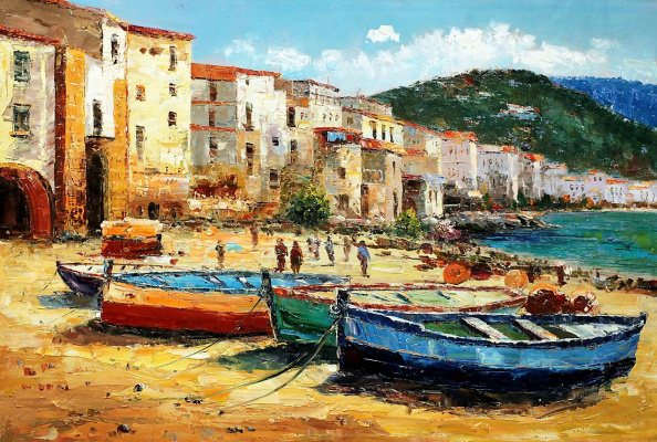 (no name). Mediterranean city. Boats on the beach