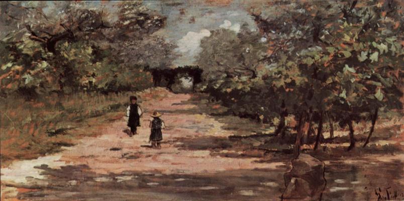 Giovanni Fattori. Two kids in the alley