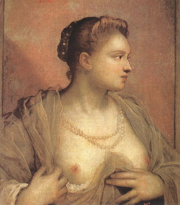 Jacopo (Robusti) Tintoretto. Portrait of a woman with an open chest