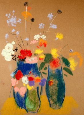 Odilon Redon. Three vases with flowers