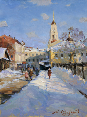 Alexander Victorovich Shevelyov. Voznesensky pereulok.Rybinsk.Oil on canvas 28,5 # 37 see 2013