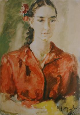 Артур Владимирович Фонвизин. Портрет девушки в красном. 1955
