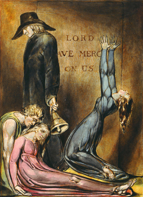 "William Blake. The Herald of the great plague. Illustration for the poem ""Europe: a prophecy"""