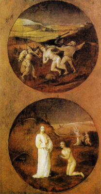 Hieronymus Bosch. The demons that beset humanity. Diptych Hell and the Flood. The reverse side of the right wing
